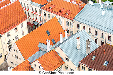 telhados, tallinn., antigas, vermelho, casas