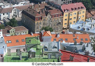 telhados, tallinn, coloridos