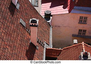 telhados, vermelho