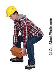 telhas, tradesman, levantamento
