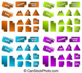 teljes, összeadás, labels., gallery., marketing, icons., nyúlós, vektor, szöveg, gyűjtés, többszínű, az enyém, több