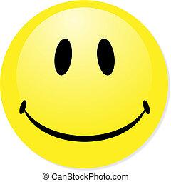 teljes, badge., smiley, sárga, gombol, vektor, ikon, keverék, shadow., emoticon.
