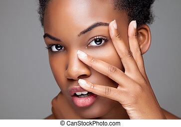 teljes, fekete, szépség, bőr
