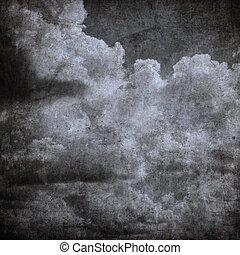 teljes, grunge, ég, mindenszentek napjának előestéje, felhős...