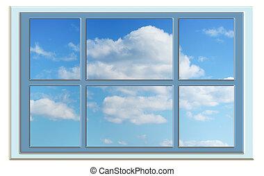 teljes, kék, ablak, ég, át