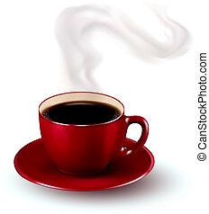 teljes, steam., kávécserje, illustration., csésze, vektor, piros