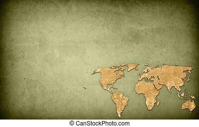teljes, térkép, hely, szüret, kép, artwork, -, háttér, szöveg, világ, vagy