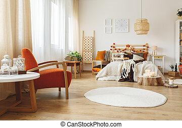 teljesen, bútorozott, hálószoba