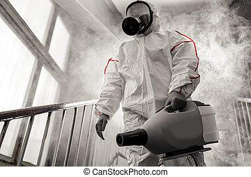 teljesen, disinfector, felszerelés, profi, szükséges, fegyveres