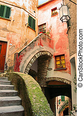 Tellaro Italy - Caruggio - Typical narrow alley of Liguria...