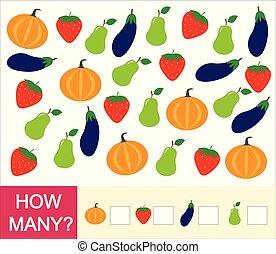 tellen, besjes, pumpkin)., aardbei, vruchten, velen, groentes, getallen, hoe, spel, mathematics., leren, children., (pear, telling, preschool, aubergine
