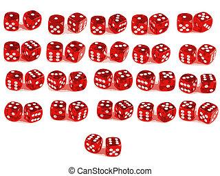 tellen, dobbelsteen, -, poly, -all, 2, laag, combinaties