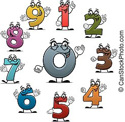 tellen, iconen, vector, getallen, karakters, spotprent