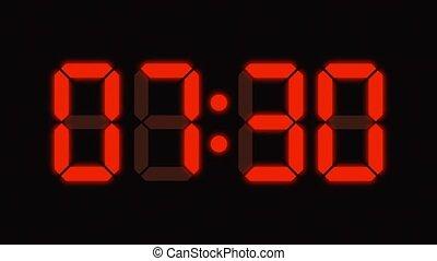 tellen, nul, digitale klok