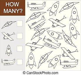 tellen, transport., illustration., hoe, velen, voorwerp, ...