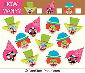tellen, velen, getallen, hoe, spel, mathematics., leren, children., clowns.