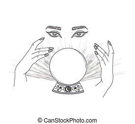 teller., disegnato, occhio, provvidenza, magia, sfera cristallo, mani, fortuna, mano