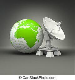 tellergericht, erde, satellit, grau, hintergrund