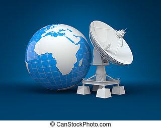 tellergericht, satellit, earth., 3d