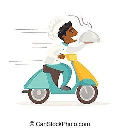 tellergericht, scooter., liefern, mann, african-american