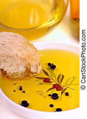 tellergericht, von, olivenöl, mit, balsamessig, und, bread