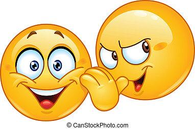 Telling a secret emoticon - Emoticon telling a secret to...