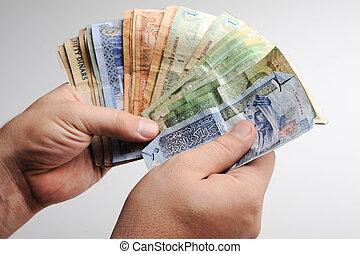 telling, arabische , geld, in, handen
