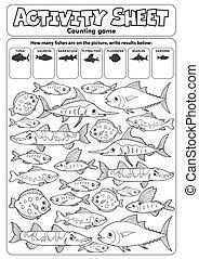 telling, blad, spel, activiteit, topic, 3