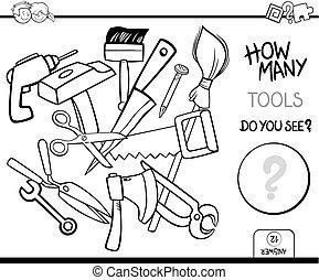 telling, gereedschap, kleuren, pagina, activiteit