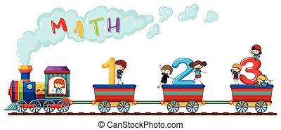 telling, getallen, op, trein, met, vrolijke , kinderen