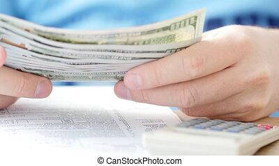 telling, het berekenen, dollars, belasting, form., kosten,...