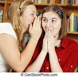 Telling Secrets in School - School girl whispers a shocking...