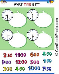 telling time clock face educational task