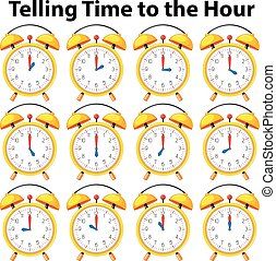 Telling time to the hour on yellow clock illustration