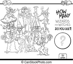 telling, wizards, kleuren, pagina, activiteit