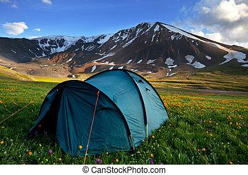 telt, ind, bjerge