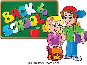 temático, escola, imagem, 4, costas