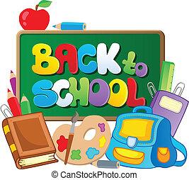 temático, escuela, 2, imagen, espalda