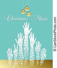 tema, árvore, musical, natal