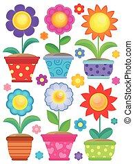 tema, 2, blomst, samling