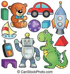 tema, 2, cobrança, brinquedos