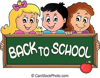 tema, 2, crianças, segurando, schoolboard