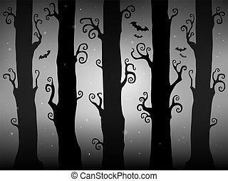 tema, 2, dia das bruxas, floresta, imagem