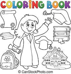tema, 2, graduación, libro colorear