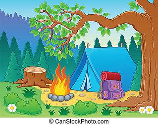 tema, 2, imagem, acampamento