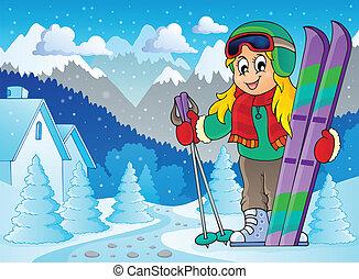 tema, 2, imagen, esquí