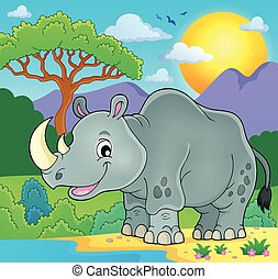 tema, 2, imagen, rinoceronte