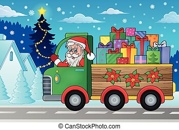 tema, 2, lastbil, jul, avbild