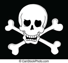 tema, 2, pirata, cráneo