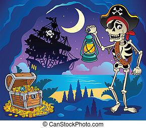 tema, 2, pirata, immagine, baia